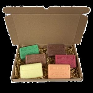 set, Chocolade, Vanille, Menthe, Vigne Rouge, Sinaasappelbloesem, Mimosa 6x125 gr. brievenbus cadeau