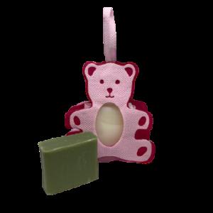 Geboorte zeepzakje roze met karite en huile d'olive