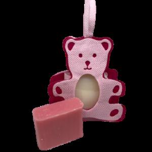 Geboorte zeepzakje roze met karite en passievrucht