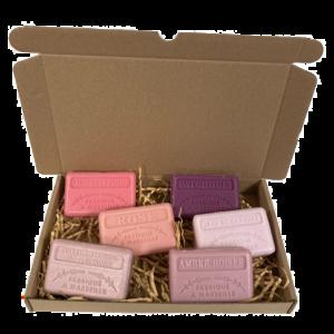 Soap bar cadeauset savon de marseille zeep Fruit de la passion, Rose, unicorn, patchouli, ambre boisee, kersenbloesem - brievenbus cadeau