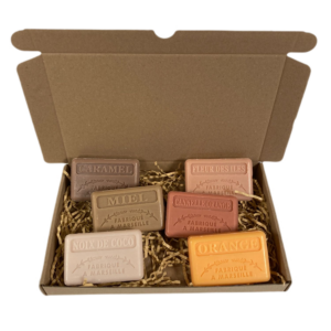 Soap bar cadeauset savon de marseille zeep Caramel, Honing, Kokos, Kaneel sinaasappel, Fleur de iles, Sinaasappel - Brievenbuscadeau