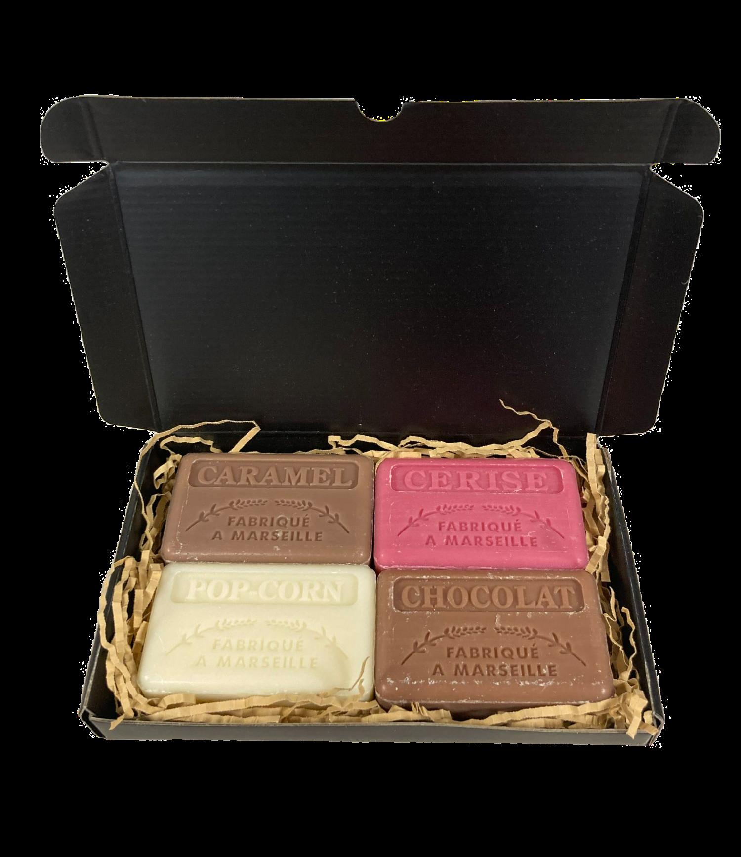 Zeep brievenbuscadeau: Caramel, Kers, Pop-Corn, Chocolade